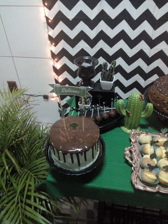 471678823b426 Niver triplo Decoração Festa tema Cactos Decoração Festa de Adulto  Decoração verde, rosa , preta