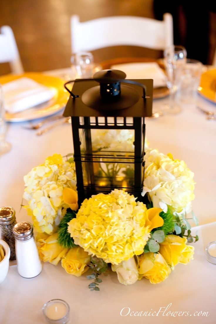 wedding centerpieces with lantern and flowers   All Yellow Flower Medium Centerpiece with a Lantern