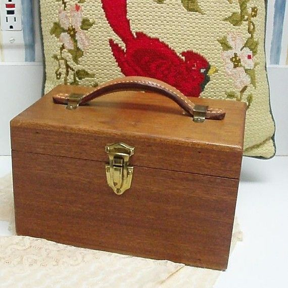 Wood Box, Vintage Train Case, Vintage Wooden Box, Wood Keepsake Box