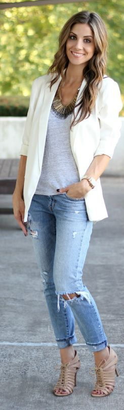 White Roll-up Sleeve Blazer
