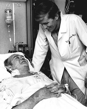 Dec. 2, 1982: Sixty-one-year-old Barney Clark became the first to receive a permanent  artificial heart.  The procedure was performed at the University of Utah.  Clark was too old to qualify for a human heart transplant. Clark lived for 112 days on the artificial heart.