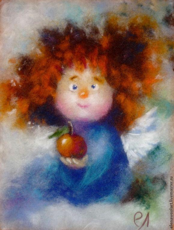 Купить Ангелочек. Шерстяная живопись - синий, ангел, ангелочек, картина с ангелом, шерстяная живопись