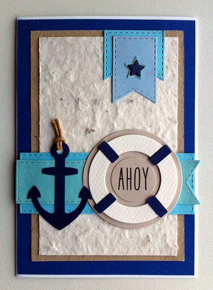 Card nautical marine sailor anchor lifesaver sea ocean - kort med anker og redningskrans - maritim nautisk - MFT Let´s get nautical #mftstamps - JKE