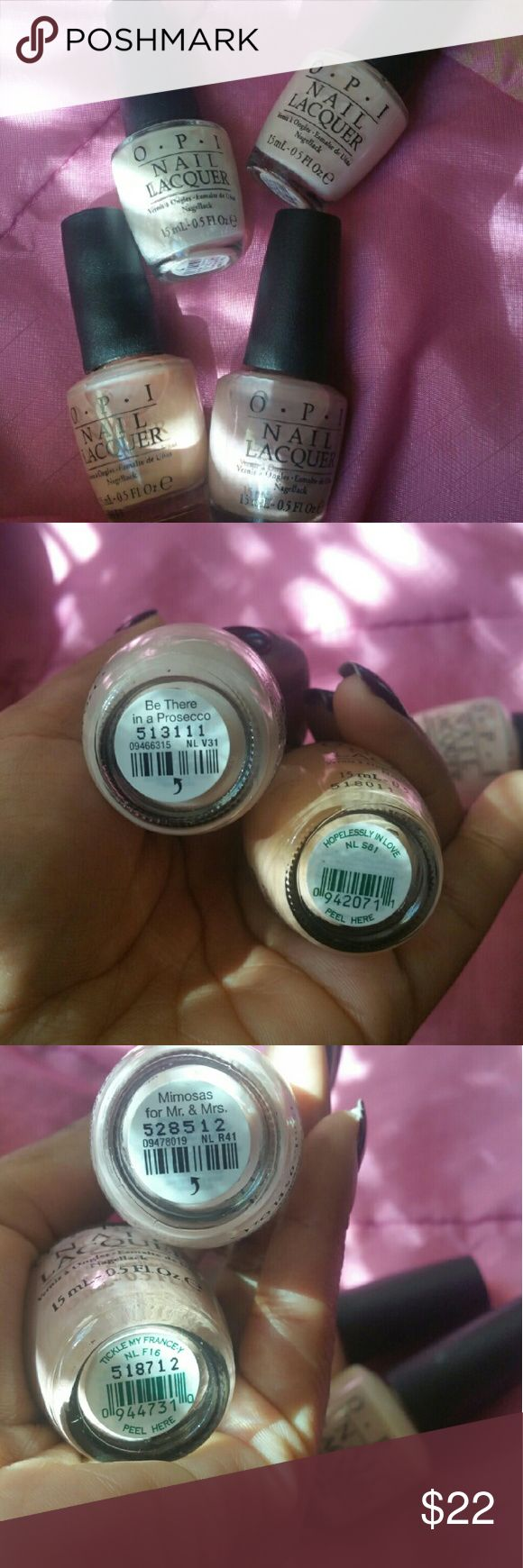 NEW OPI Polishes Pink White Peach Mauve BRAND NEW OPI Polishes Hopelessly in Love, Be There in a Prosecco, Tickle My France-y and Mimosas for Mr. And Mrs.   Reasonable offers considered :) OPI Makeup