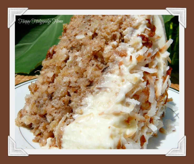 Hawaiian Wedding Cake with Whipped Cream Cheese Frosting *sugar, brown sugar, baking soda, flour, eggs, crushed pineapple, walnuts, coconut, cinnamon, nutmeg, vanilla, cream cheese, heavy cream
