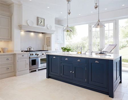 Luxury Blue Painted Kitchen featuring Provence Rise & Fall light fittings by Elstead.