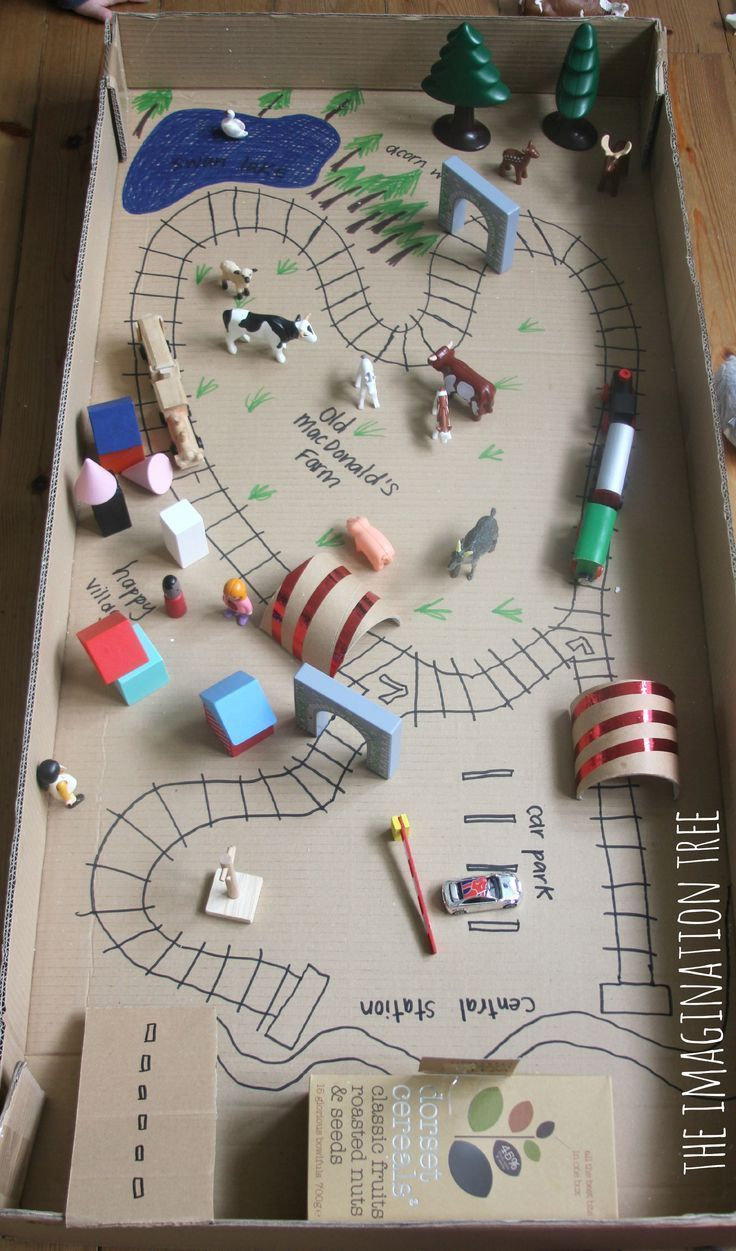 Cereal box train station, cardboard tube tunnels and train tracks drawn with markers in giant cardboard box! Adapt this into a board game and use in play therapy.
