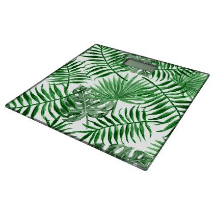 Hip Retro Tropical Green Palm Leafs Pattern Bathroom Scale - elegant gifts gift ideas custom presents