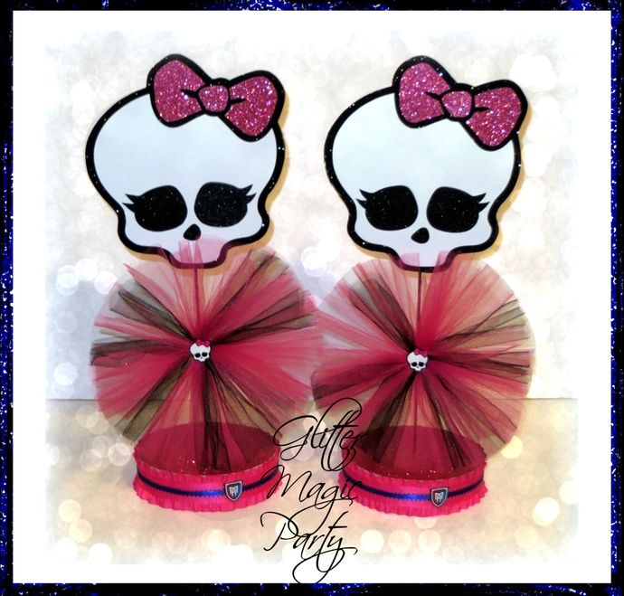 Monster High Centerpieces - Monster High Inspired Party - Monster High Party Decoration - Monster High Skulls - SET OF 2 by GlitterMagicParty, $25.99 USD