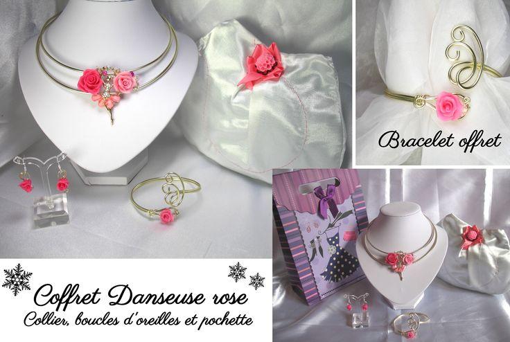 Coffret Danseuse rose noël perles cristal