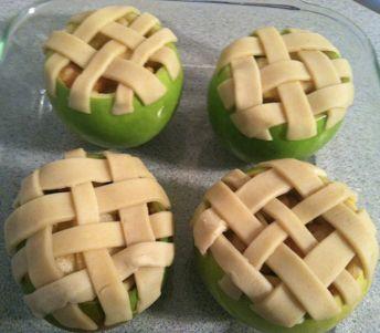 mini apple pies in apple shell