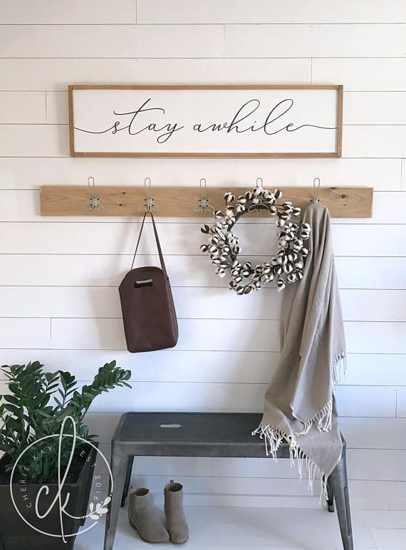 Stay Awhile Sign Home Wall Decor Wood Framed Sign Wall Art Entryway Sign Entryway Wall Decor Entryway Wall Decor Entryway Signs Foyer Decorating