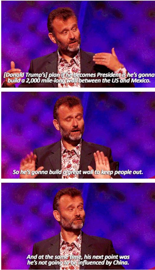 "When Hugh Dennis brought up American politics. | 31 Times ""Mock The Week"" Was The Funniest Show On TV"