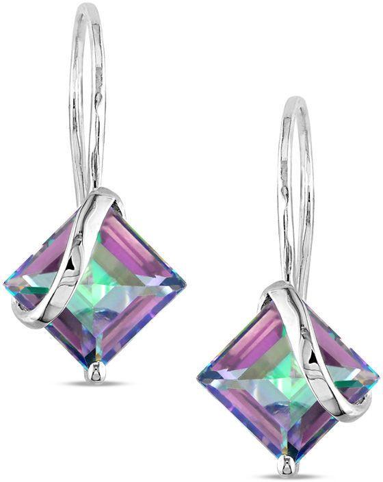 Zales Princess-Cut Rainbow Green Topaz Overlay Drop Earrings in 10K White Gold