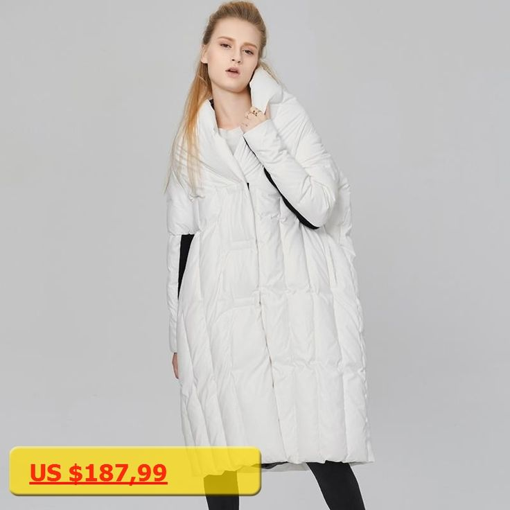 YNZZU Winter White Duck Down Coat Womens Fashion Quilt Thick Warm Jackets and Coats European Casual Loose Oversized Jacket O084