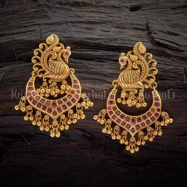 195072229dc6e Designer antique earrings studded with synthetic ruby stones, plated ...