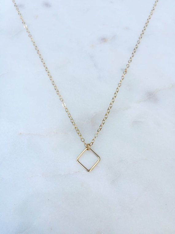 Diamond Shape Necklace / Geometric Necklace by WildAboutFrank