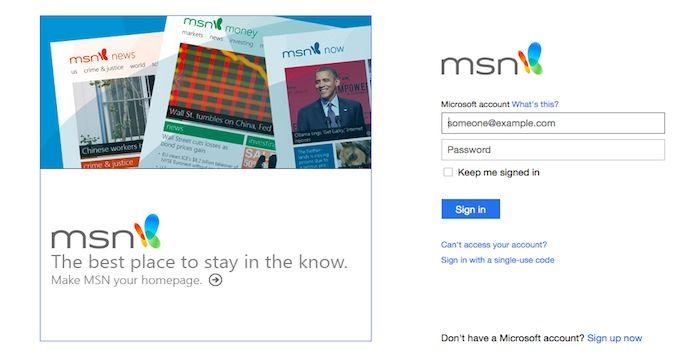 Msn login page