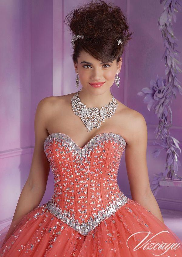 Quinceanera Gowns Style 89012: 89012 Tulle Quinceanera Gown with Beading http://www.morilee.com/quinceanera/quinceanera_vizcaya/89012