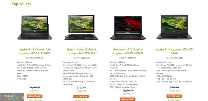 In USA, it has a brand image and delivers best quality laptops. The company gives best and latest technology at very low price and you can also save you money using Acer promo codes. PromoOcodes provides you best Acer coupons which save your money while purchasing Acer's products. Here you can purchase a wide variety of Acer's products like laptops, computers and accessories and tablets. We always update our site for best offers and best coupons for worldwide…