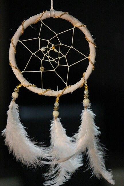 White and gold dreamcatcher  #dreamstudiomumbai