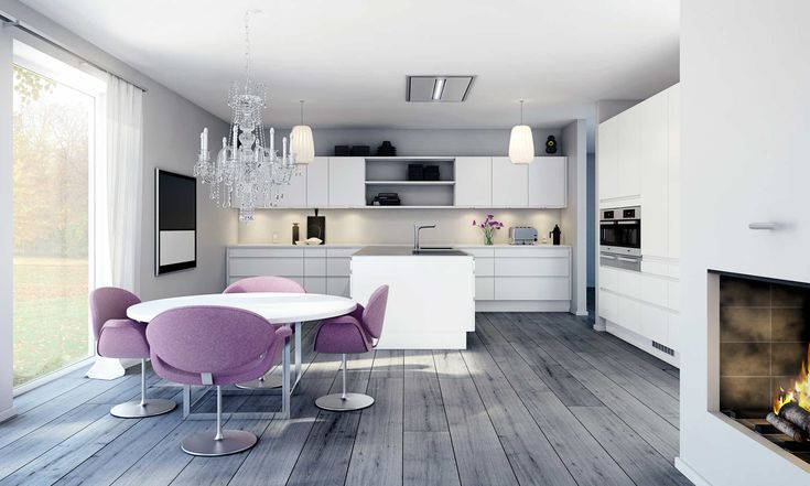 Harmonisk hivtt kjøkken med integrerte hvitevarer