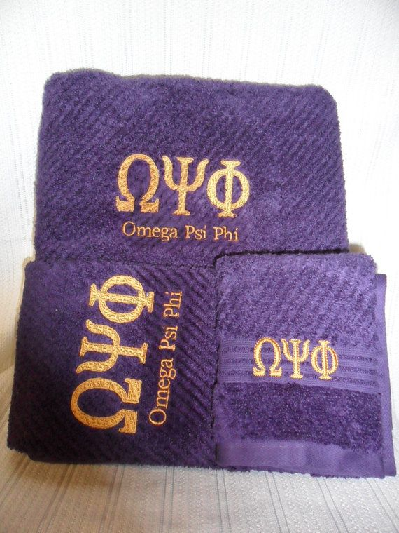 OMEGA PSI PHI Deep Purple 3 piece Towel Set (Bath, Hand and Wash) on Etsy, $37.00