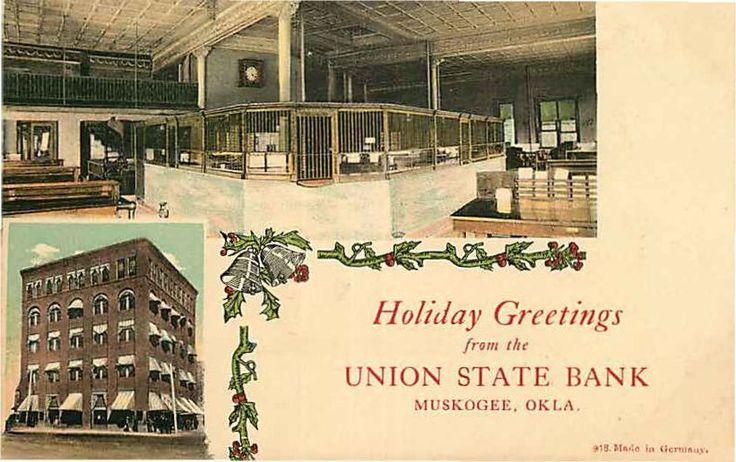 Postcard Union State Bank Interior Exterior Muskogee Oklahoma | eBay