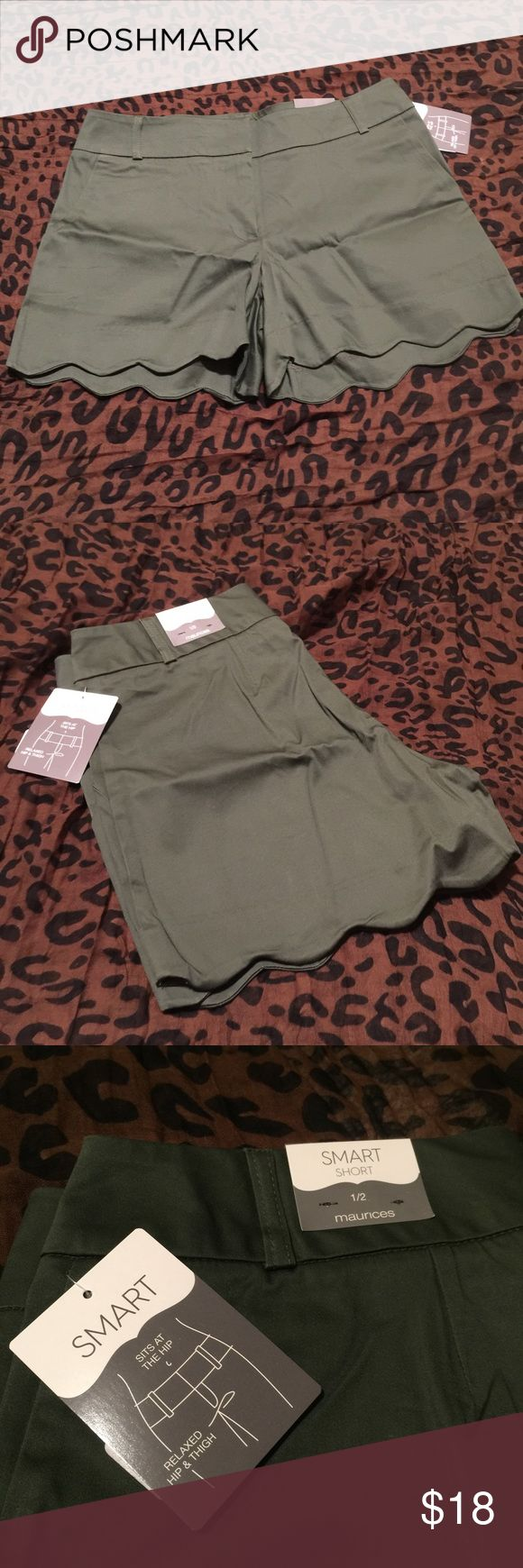 Maurices Smart Shorts NWT the smart shorts in forest fern with scalloped hem Maurices Shorts
