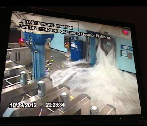 Security camera footage of the Hoboken PATH station as waters rush in | 29 Breathtaking Photos Of Hurricane Sandy's Devastation