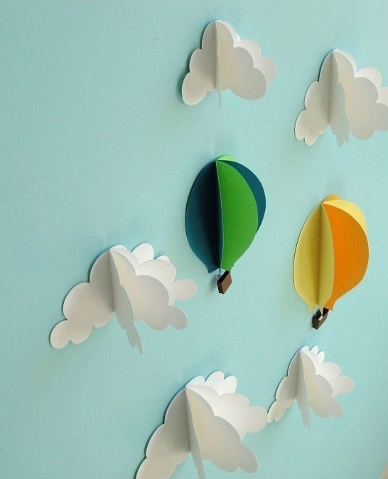 Hot Air Balloons and Clouds - 3D Paper Wall Art/Wall Decor/Wall Decals for weather bulletin board