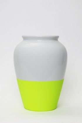 """The """"Fluo Vase"""" is the first vase ever made in fluo porcelaine from Limoges, the cradle of French porcelain [La Tete au Cube]"""
