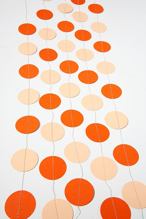 Thanksgiving Paper Garland party decor Circle paper garland TANGERINE & ORANGE  Birthday party Bridal shower photo props by TransparentEsDecor
