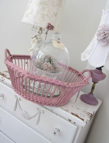 Vintage Wicker Basket - Pink - Shabby Cottage Farmhouse - by PurpleFlowerFairy | Liked by Wicker Paradise