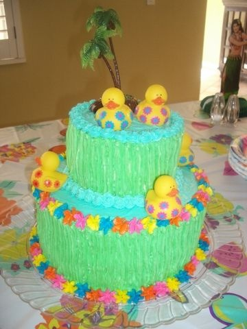 Baby Luau Cake Double Layer And On Top For A Luau Baby Shower Cake. Many  Thanks To Kelleym For Her Idea!