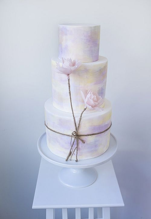 pastel purple watercolor wedding cake / http://www.deerpearlflowers.com/23-unique-wedding-cakes-made-with-love/