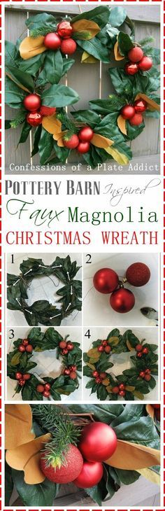 CONFESSIONS OF A PLATE ADDICT Pottery Barn Inspired Faux Magnolia Wreath