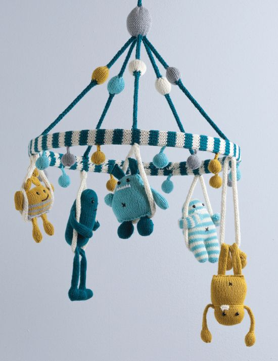Adorable monster mobile for your little one's nursery! From Knit a Monster Nursery