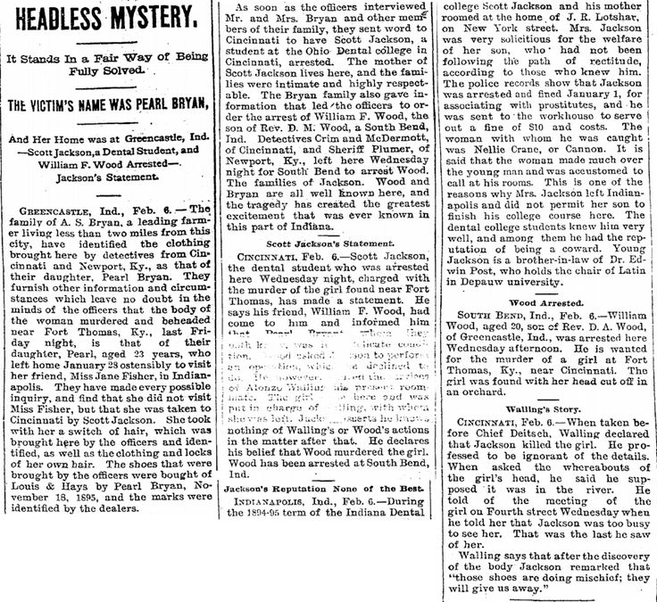 The Sound of Shaking Paper: The Pearl Bryan Murder: Woman Beheaded Alive by Seducer, 1896