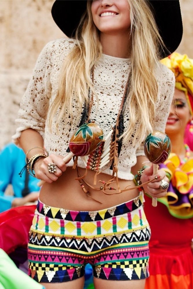 Festival Fashion. Crochet top paired with aztec print shorts.