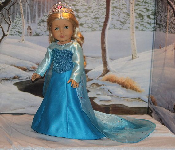 Frozen Fairytale 2-piece Elsa gown by  App2quilt. Quality workmanship for American Girl dolls  http://www.etsy.com/listing/189105676/frozen-gown-for-18-inch-dolls-like