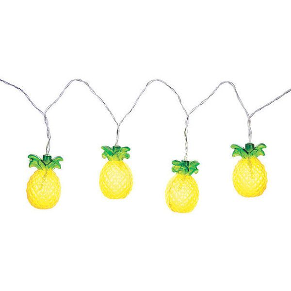 Pineapple String Lights Yellow Outdoor Lanterns (32 CAD) ❤ liked on Polyvore featuring home, outdoors, outdoor lighting, outdoor, yelllow, battery string lights, battery powered lanterns, outdoor party lights and battery operated lanterns