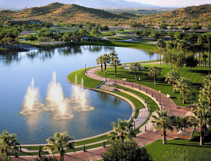 Aerial view of beautiful North Lake in the master-planned community of Estrella in Goodyear, Arizona