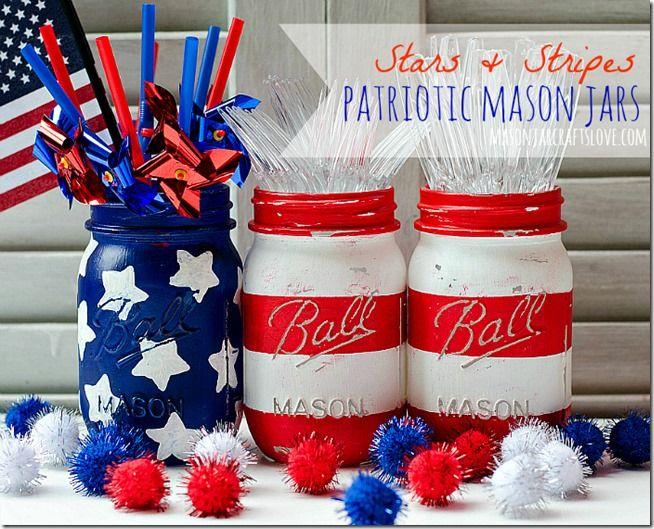 Patriotic Mason Jars Centerpiece