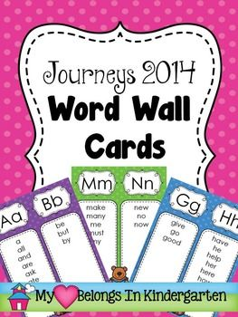 JOURNEYS 2014 - WORD WALL CARDS: This set of word wall cards are perfect for classrooms with limited wall space or for small areas such as writing centers. Best of all, there's no prep! Just print and go.   This product contains a set of 13 word wall cards…one-half page for each letter of the alphabet. Each card features high-frequency words from the Journeys 2014 reading series.