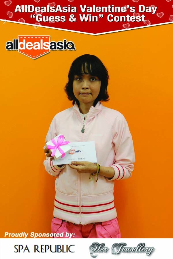 Congratulations to Jia Li for winning All Deals Asia's Valentines' Day Guess and Win Contest! She has won for herself the luxurious Couple Spa package from Spa Republic and a set of exquisite jewellery from Her Jewellery.