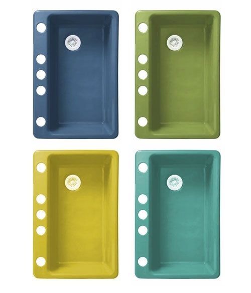 KOHLER Colors featuring Jonathan Adler: Riverby single-bowl under-mount kitchen sink with accessories  --> Great colors!