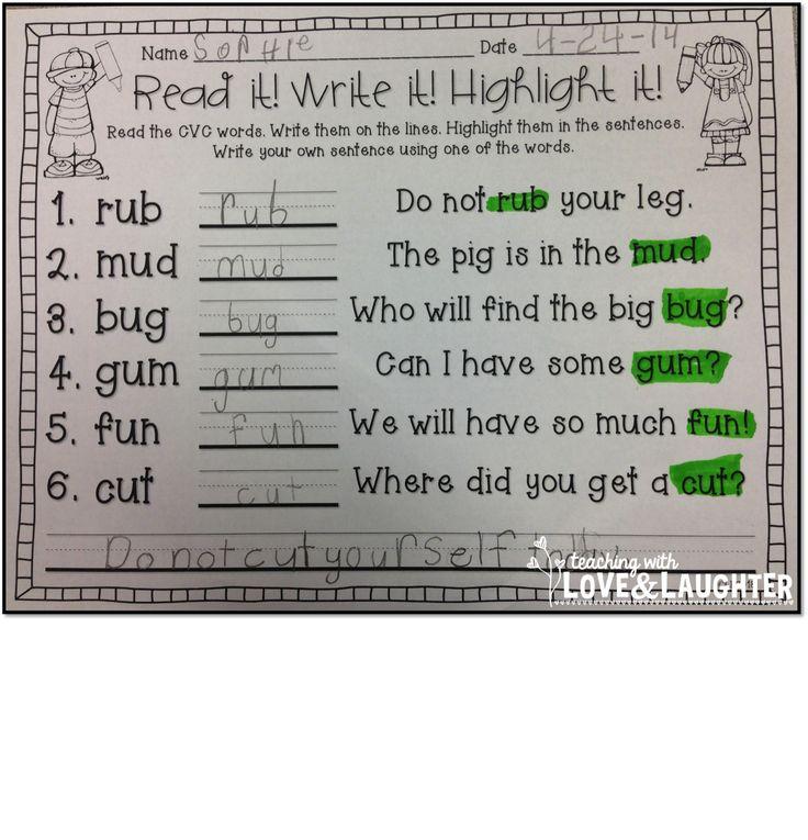 Fantastic Cvc Worte Einer Tabelle Frei Composition - Kindergarten ...