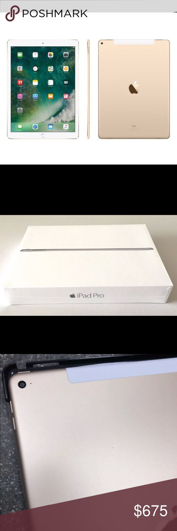 🔥12.9 inch 🍎 IPAD PRO WIFI + 4G LTE UNLOCKED EUC 12.9-inch Retina display, the largest and most capable iPad ever is only 6.9mm thin and weighs just 1.57 pounds. It has a powerful A9X chip with 64-bit desktop-class architecture, four speaker audio, advanced iSight and FaceTime HD cameras, Wi-Fi and LTE connectivity, iCloud, the breakthrough Touch ID fingerprint sensor EUC Gorilla glass placed on day of purchase  Stand case included  Original box and plastic cover that was with iPad when…