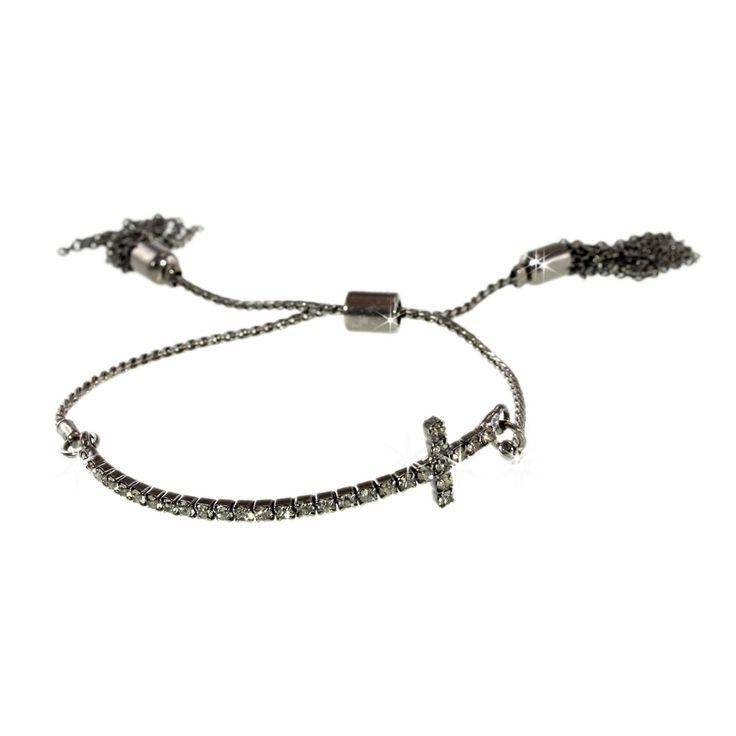Beautiful crystal cross braceletwith adjustable chain – and hanging tassel detail! Black metal-Black diamond crystal. One Size